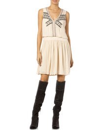 Miss Me Sleeveless Embroidered Taupe and Black Dress, , hi-res