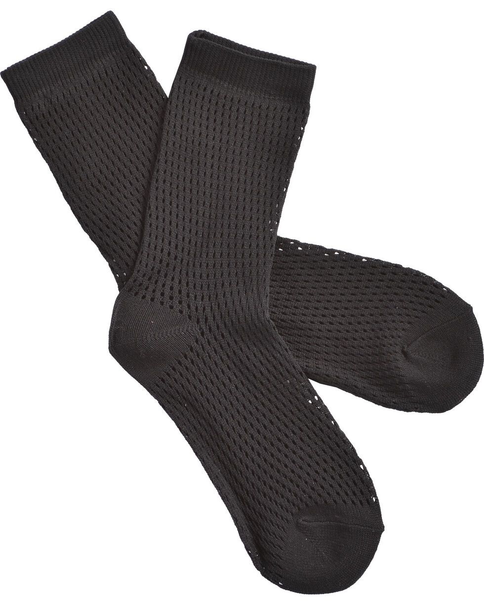 Shyanne Black Mesh Crew Socks , Black, hi-res