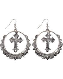 Shyanne® Women's Cross & Hoop Western Earrings , , hi-res