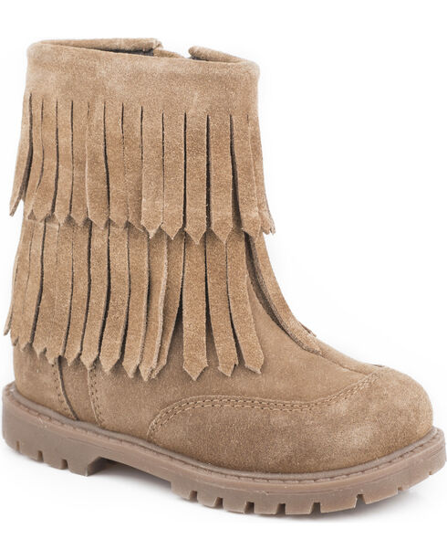 Roper Toddler Girls' Tan Fashion Fringe Moccasin Boots - Round Toe, Tan, hi-res