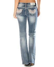 Grace in LA Women's Feather Pocket Jeans - Boot Cut , , hi-res