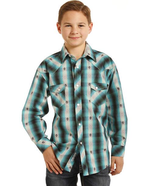 Rock & Roll Cowboy Boys' Teal Plaid Shirt , Green, hi-res