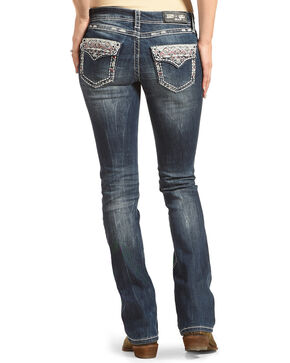 Grace in LA Women's Blue Aztec Sabrina Jeans - Boot Cut , Blue, hi-res