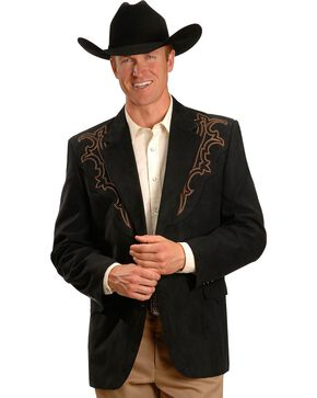 Circle S Men's Embroidered Microsuede Sport Coat, Black, hi-res