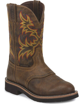 Justin Men's Rugged  Stampede Waterproof Work Boots, Brown, hi-res