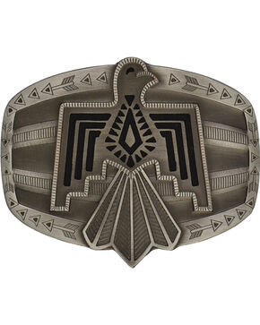 Rock 47 Antiqued Aztec Thunderbird Belt Buckle, Antique Silver, hi-res