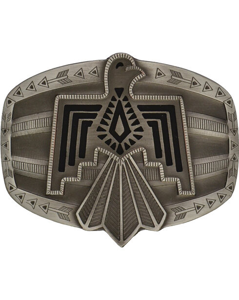Rock 47 Antiqued Aztec Thunderbird Belt Buckle, Antique Silver, hi-res