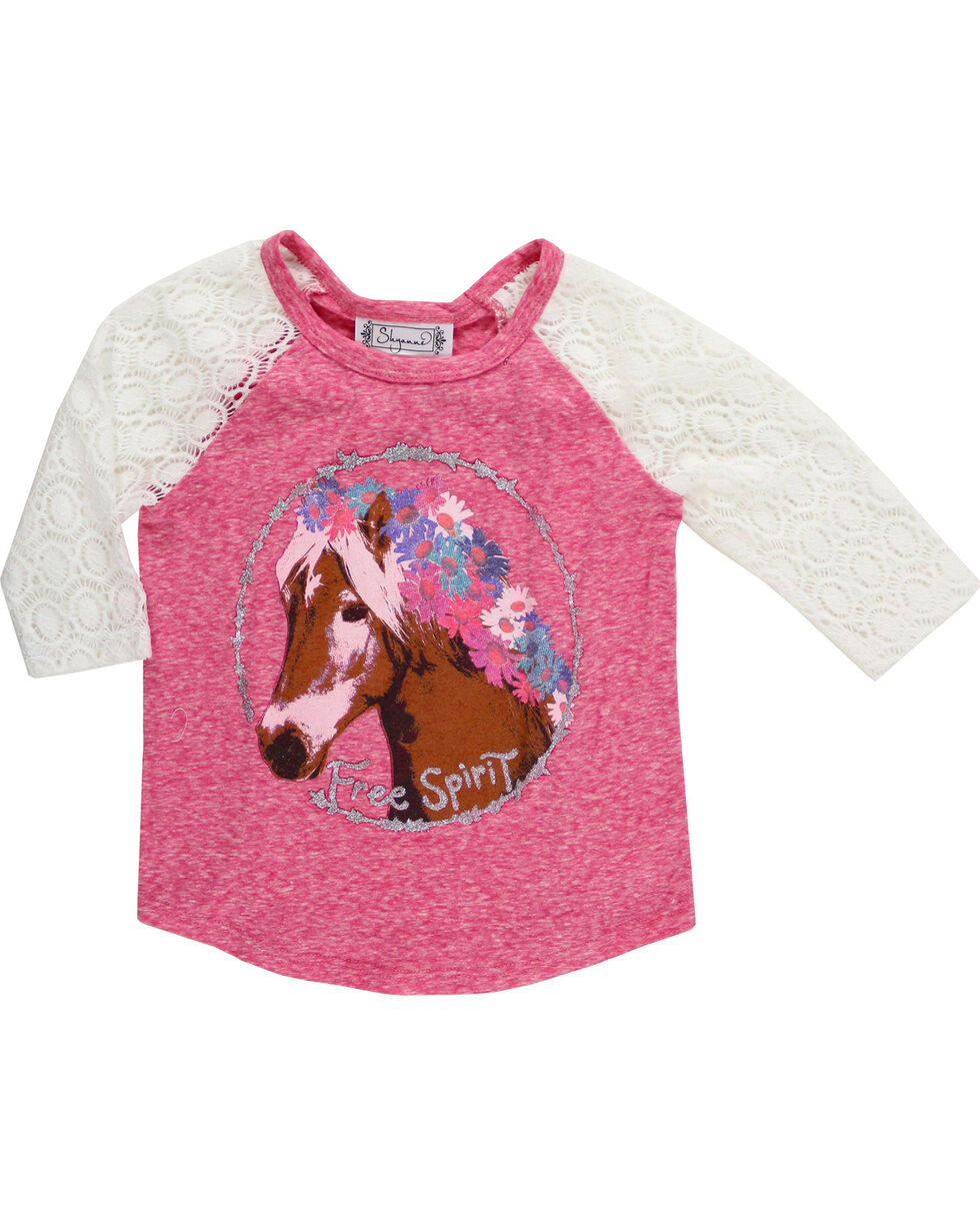 Shyanne Girls' Flower Crown Pony Raglan Tee, Coral, hi-res