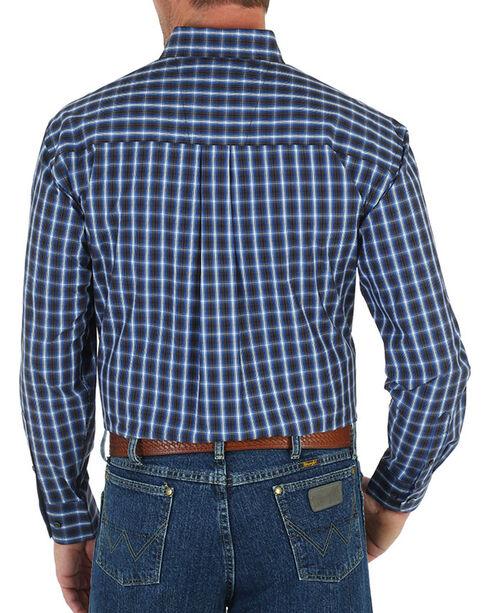 Wrangler George Strait Men's Large Check Patterned Long Sleeve Shirt, Blue, hi-res