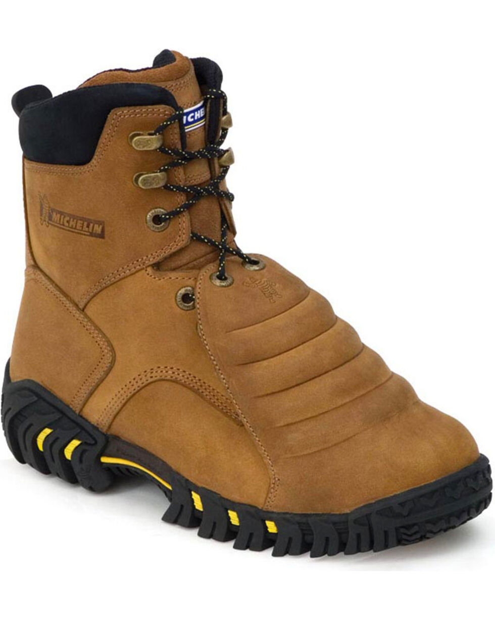 "Michelin Men's Sledge 8"" Work Boots, Brown, hi-res"