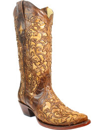 Corral Women's Brown Floral Cutout Crackle Underlay Cowgirl Boots - Snip Toe, , hi-res