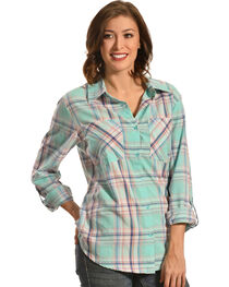 New Direction Sport Women's Pastel Plaid Two Pocket Western Shirt , , hi-res