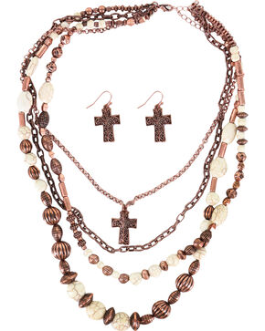Shyanne Women's Copper and Bone Beaded Multi-Strand Jewelry Set, Rust Copper, hi-res