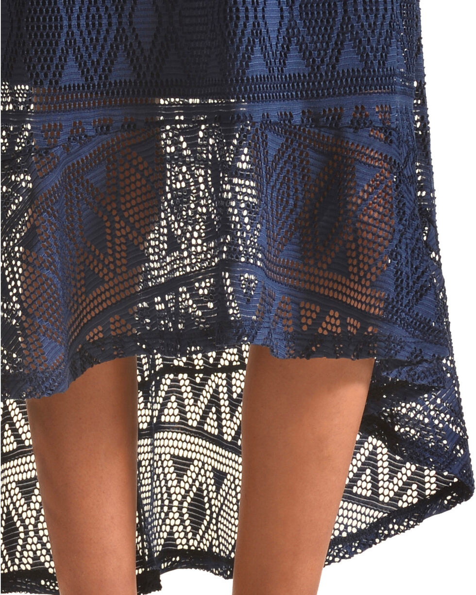 Derek Heart Girls' Blue Hi Lo Crochet Maxi Skirt, Blue, hi-res