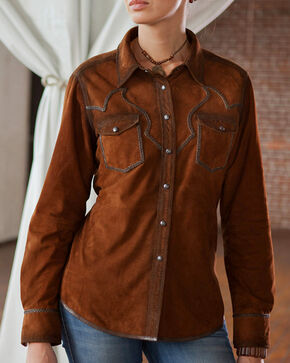 Ryan Michael Women's Acorn Santa Fe Leather Shirt, Brown, hi-res