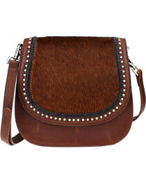 Montana West Delila Saddle Bag 100% Genuine Leather Hair-On Hide Collection in Brown, Brown, hi-res
