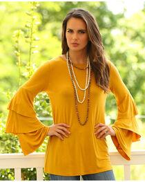 Wrangler Women's Mustard Long Ruffle Sleeve Tunic, , hi-res