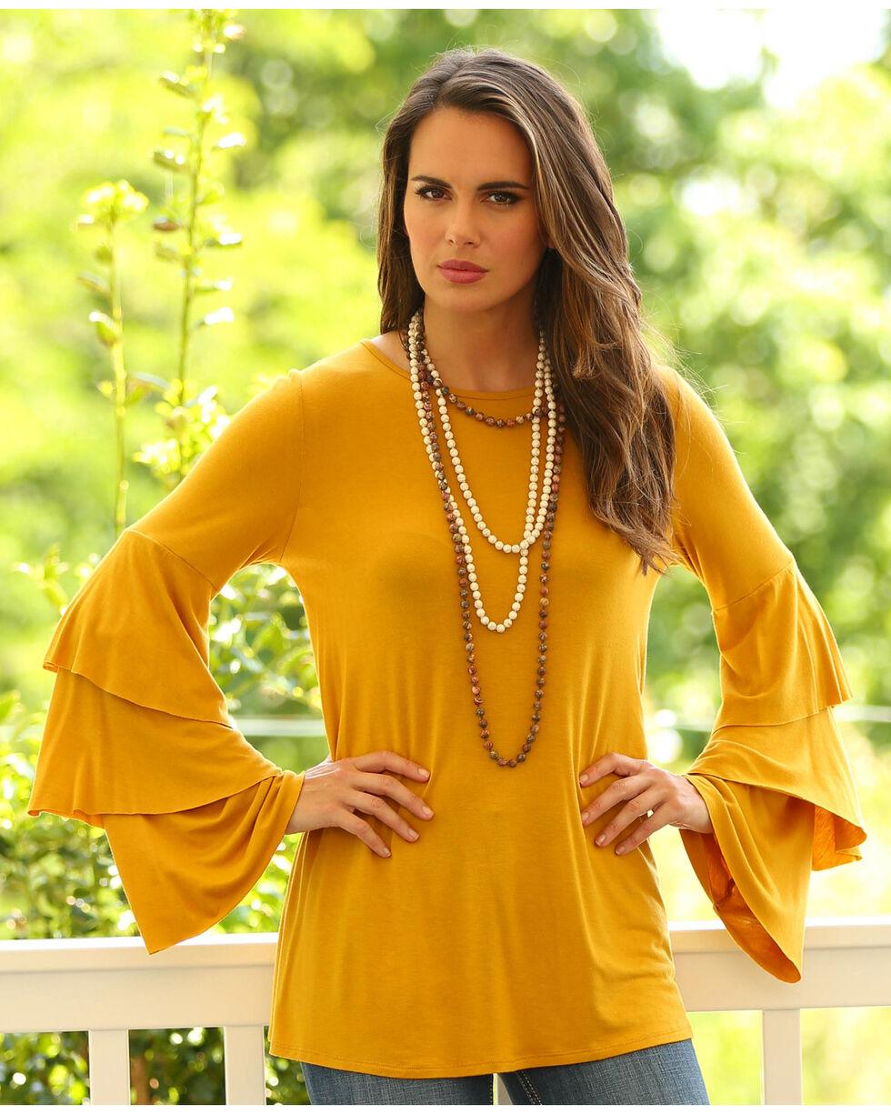 Wrangler Women's Mustard Long Ruffle Sleeve Tunic, Dark Yellow, hi-res