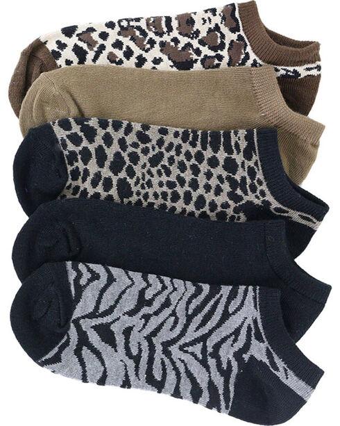 K.Bell Women's 6-Pair Pack No Show Heather Animal Print Ankle Socks, Multi, hi-res