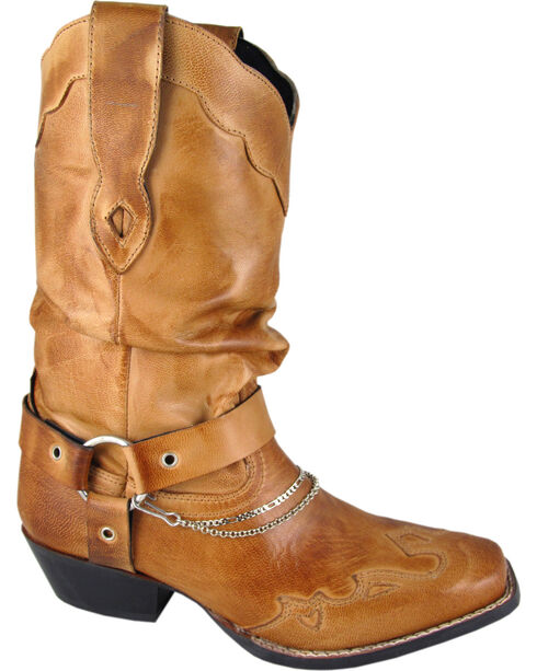 Smoky Mountain Avalon Slouch Cowgirl Boots - Square Toe, Tan, hi-res