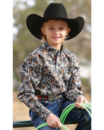 Cinch Boys' Paisley Button Down Long Sleeve Shirt , , hi-res