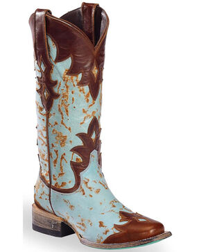 Lane Women's Diamond Dust Overlay Cowgirl Boots - Square Toe , Brown, hi-res