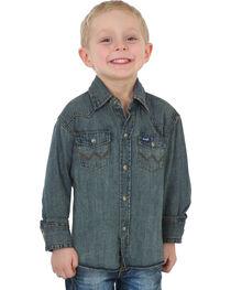 Wrangler Boys' Indigo Western Denim Shirt , , hi-res