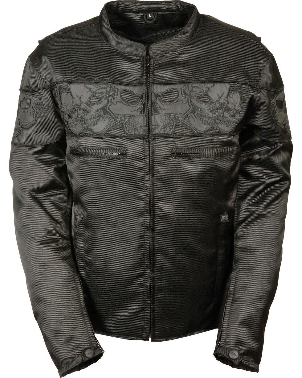 Milwaukee Leather Men's Reflective Skulls Textile Jacket - Big - 5X, Black, hi-res