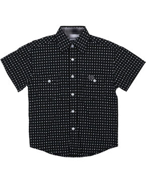 Panhandle Boys' Pattern Short Sleeve Shirt, Black, hi-res