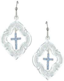Montana Silversmiths Women's Looking Through To Faith Cross Earrings , , hi-res