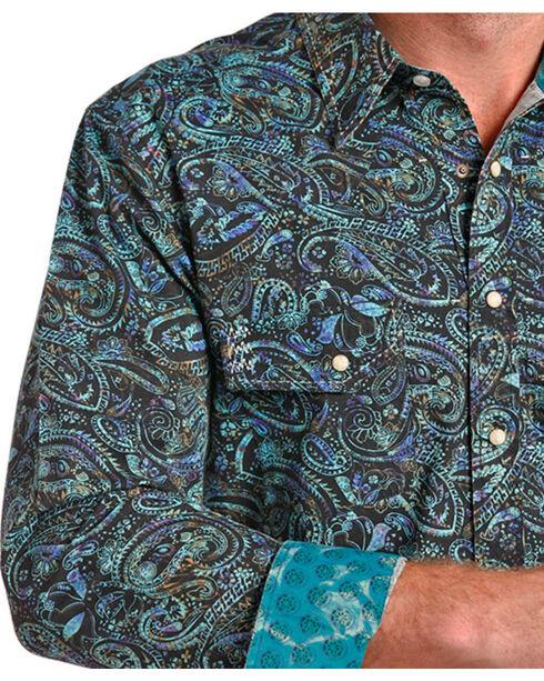 Rock & Roll Cowboy Men's Paisley Print Long Sleeve Shirt , Green, hi-res