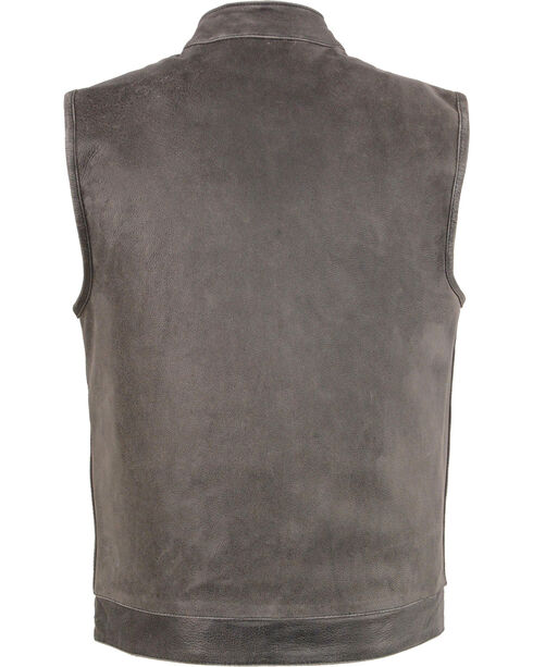 Milwaukee Leather Men's Grey Open Neck Club Style Concealed Vest - 3X, Grey, hi-res