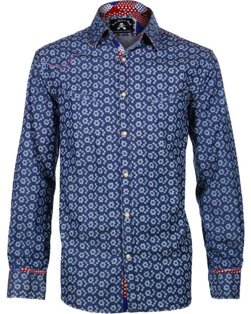 Rock Roll n Soul Men's One Shot Long Sleeve Shirt, Blue, hi-res