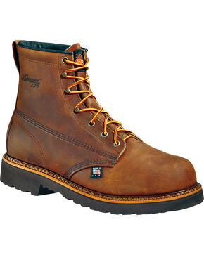"Thorogood Men's 6"" American Heritage Work Boots - Steel Toe, Brown, hi-res"