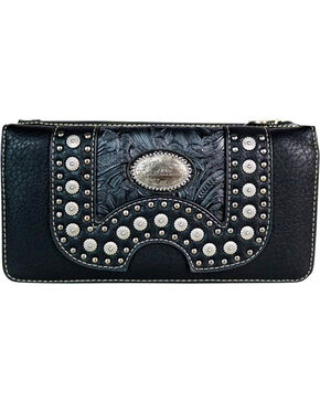 Montana West Women's Concho Secretary Style Wallet, Black, hi-res
