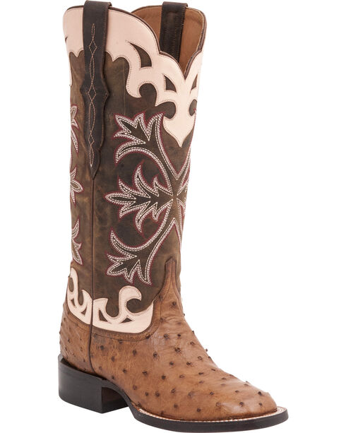 Lucchese Women's Rowena Exotic Ostrich Western Boots, Tan, hi-res
