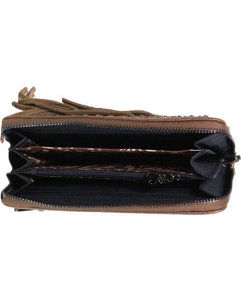 Shyanne® Women's Studded Fringe Wallet, Brown, hi-res