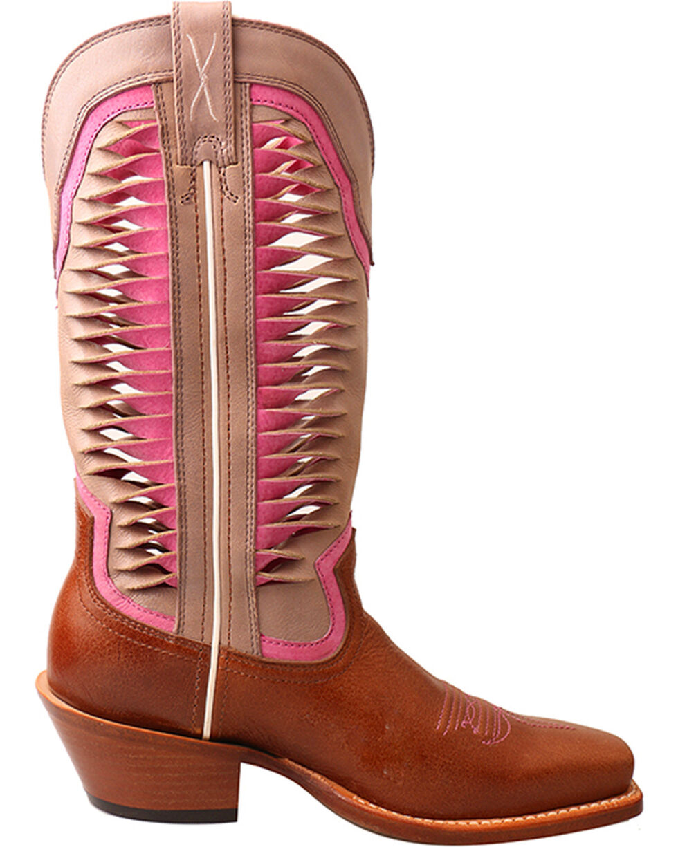 """Twisted X Women's 12"""" Ruff Stock Vented Shaft Cowgirl Boots - Square Toe, Lt Brown, hi-res"""