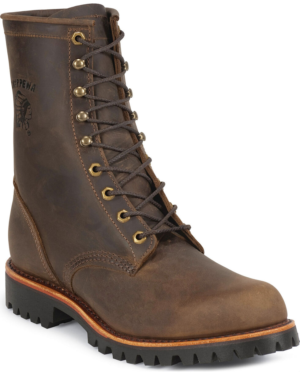 Chippewa Men's Classic Steel Toe Lace Up Boots, Chocolate, hi-res