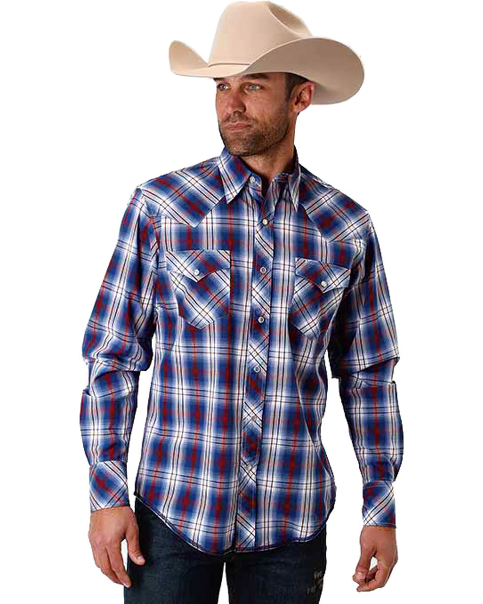 Roper Men's Blue Patriot Plaid Western Shirt , Blue, hi-res