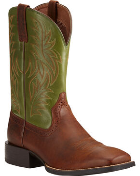 Ariat Men's Sport Wide Square Toe Western Boots, Tan, hi-res