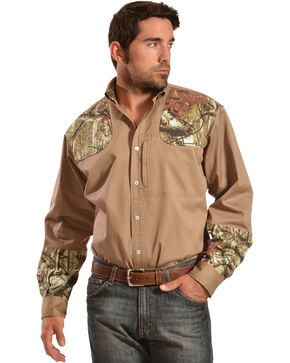 Gibson Trading Co. Men's Khaki Camo Shooter Shirt, Khaki, hi-res