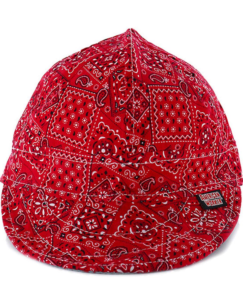 American Worker Men's Paisley Red Welding Cap, Red, hi-res