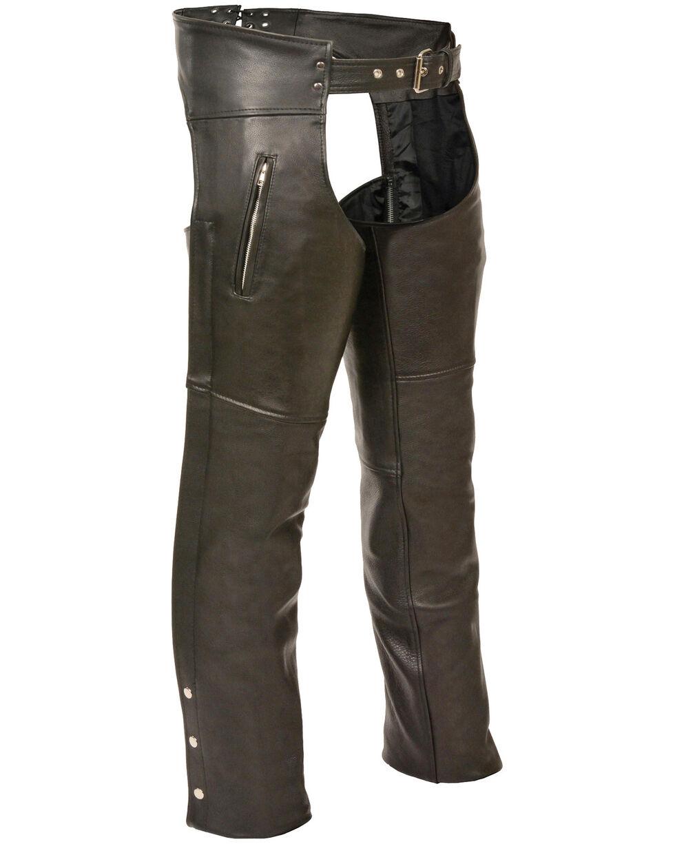 Milwaukee Leather Men's Black Zippered Thigh Pocket Chaps - 3X, Black, hi-res