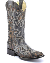 Corral Vintage Black & Brown Laser Cowgirl Boots - Square Toe , , hi-res