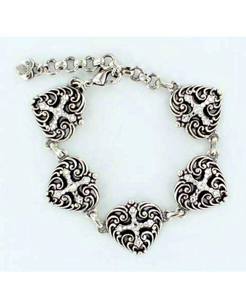 Blazin Roxx Heart & Cross Charm Bracelet, Silver, hi-res