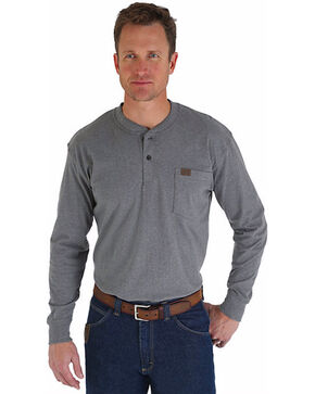 Riggs Workwear Men's Long Sleeve Henley T-Shirt, Charcoal Grey, hi-res