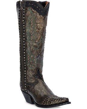 Dan Post Women's Tempted Floral Leather & Stud Fashion Boots, Taupe, hi-res