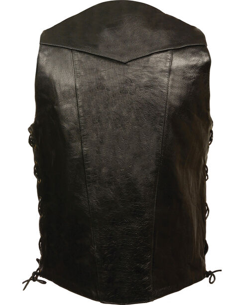 Milwaukee Leather Men's Black 10 Pocket Side Lace Vest - Big, Black, hi-res