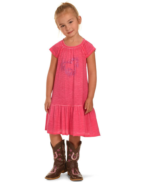 Cowgirl Hardware Toddler Girls' Dip Dyed Sparkle Horse Dress, Pink, hi-res